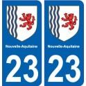 23 creuse autocollant plaque immatriculation auto département sticker Nouvelle Aquitaine blason