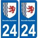 24 Dordogne autocollant plaque immatriculation auto département sticker Nouvelle Aquitaine blason