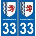 33 Gironde autocollant plaque immatriculation auto département sticker Nouvelle Aquitaine blason