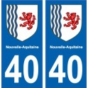 40 Landes autocollant plaque immatriculation auto département sticker Nouvelle Aquitaine blason