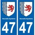 47 Lot-Et-Garonne autocollant plaque immatriculation auto département sticker Nouvelle Aquitaine blason