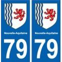 79 Deux-Sèvres autocollant plaque immatriculation auto département sticker Nouvelle Aquitaine blason