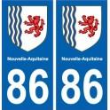 86 Vienne autocollant plaque immatriculation auto département sticker Nouvelle Aquitaine blason