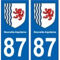 87 Haute-Vienne autocollant plaque immatriculation auto département sticker Nouvelle Aquitaine blason