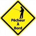 Autocollant pêcheur à Bord carré jaune sticker