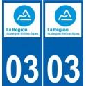 03 Allier autocollant plaque immatriculation auto département sticker Auvergne-Rhône-Alpes logo 3