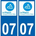 07 Ardèche autocollant plaque immatriculation auto département sticker Auvergne-Rhône-Alpes logo 3