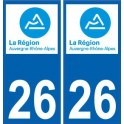 26 Drôme autocollant plaque immatriculation auto département sticker Auvergne-Rhône-Alpes logo 3