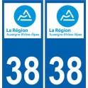 38 Isère autocollant plaque immatriculation auto département sticker Auvergne-Rhône-Alpes logo 3