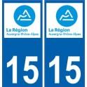 15 Cantal autocollant plaque immatriculation auto département sticker Auvergne-Rhône-Alpes logo 3
