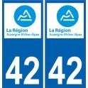 42 Loire autocollant plaque immatriculation auto département sticker Auvergne-Rhône-Alpes logo 3