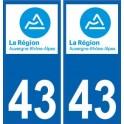 43 Haute-Loire autocollant plaque immatriculation auto département sticker Auvergne-Rhône-Alpes logo 3