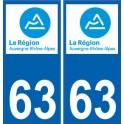 63 Puy-De-Dôme autocollant plaque immatriculation auto département sticker Auvergne-Rhône-Alpes logo 3