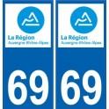 69 Rhône autocollant plaque immatriculation auto département sticker Auvergne-Rhône-Alpes logo 3