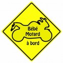 Baby biker on board the yellow square decal sticker adhesive logo 3-3