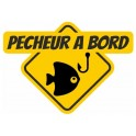 Sticker fisherman square Edge yellow fish sticker 1-1