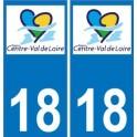18 Cher autocollant plaque immatriculation auto département sticker Centre-Val de Loire logo