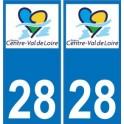 28 Eure-et-Loir autocollant plaque immatriculation auto département sticker Centre-Val de Loire logo