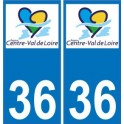 36 Indre autocollant plaque immatriculation auto département sticker Centre-Val de Loire logo