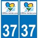 37 Indre-et-Loire autocollant plaque immatriculation auto département sticker Centre-Val de Loire logo