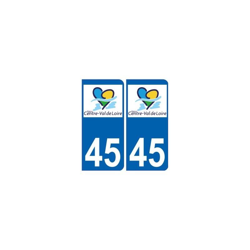 45 loiret autocollant plaque immatriculation auto d partement sticker centre val de loire logo. Black Bedroom Furniture Sets. Home Design Ideas