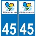 45 Loiret autocollant plaque immatriculation auto département sticker Centre-Val de Loire logo