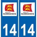 14 Calvados autocollant plaque immatriculation auto département sticker Normandie nouveau logo