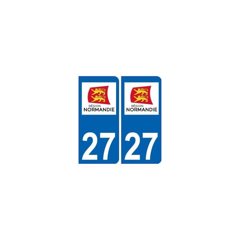 27 eure autocollant plaque immatriculation auto d partement sticker normandie nouveau logo. Black Bedroom Furniture Sets. Home Design Ideas