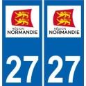 27 Eure autocollant plaque immatriculation auto département sticker Normandie nouveau logo