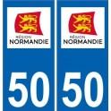 50 Manche autocollant plaque immatriculation auto département sticker Normandie nouveau logo