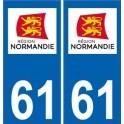 61 Orne autocollant plaque immatriculation auto département sticker Normandie nouveau logo