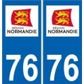 76 Seine-Maritime autocollant plaque immatriculation auto département sticker Normandie nouveau logo