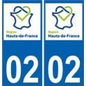 02 Aisne autocollant plaque immatriculation auto Haut-de-France département sticker nouveau logo