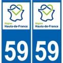 59 Nord autocollant plaque immatriculation auto Haut-de-France département sticker nouveau logo