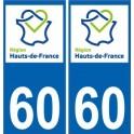 60 Oise autocollant plaque immatriculation auto Haut-de-France département sticker nouveau logo