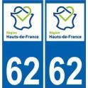 62 Pas-de-Calais autocollant plaque immatriculation auto Haut-de-France département sticker nouveau logo