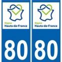 80 Somme autocollant plaque immatriculation auto Haut-de-France département sticker nouveau logo