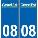 08 Ardennes autocollant plaque immatriculation auto département sticker Grand-Est nouveau logo