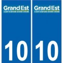 10 Aube autocollant plaque immatriculation auto département sticker Grand-Est nouveau logo