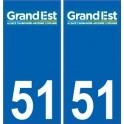 51 Marne autocollant plaque immatriculation auto département sticker Grand-Est nouveau logo