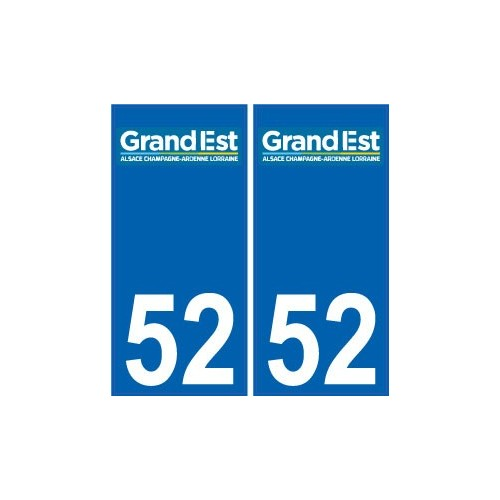 52 Haute-Marne autocollant plaque immatriculation auto département sticker Grand-Est nouveau logo