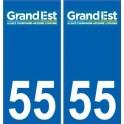 55 Meuse autocollant plaque immatriculation auto département sticker Grand-Est nouveau logo