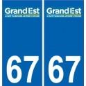 67 Bas-Rhin autocollant plaque immatriculation auto département sticker Grand-Est nouveau logo