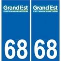 68 Haut-Rhin autocollant plaque immatriculation auto département sticker Grand-Est nouveau logo