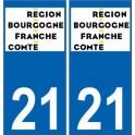 21 Côte d'Or autocollant plaque immatriculation auto département sticker Bourgogne-Franche-Comté nouveau logo