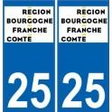 25 Doubs autocollant plaque immatriculation auto département sticker Bourgogne-Franche-Comté nouveau logo