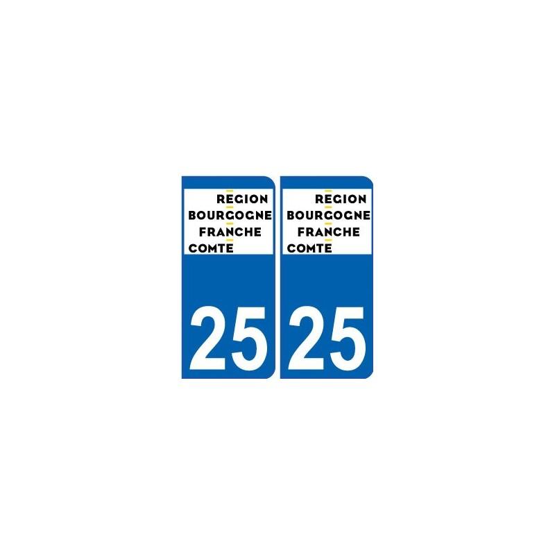 25 doubs autocollant plaque immatriculation auto d partement sticker bourgogne franche comt. Black Bedroom Furniture Sets. Home Design Ideas