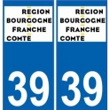 39 Jura autocollant plaque immatriculation auto département sticker Bourgogne-Franche-Comté nouveau logo