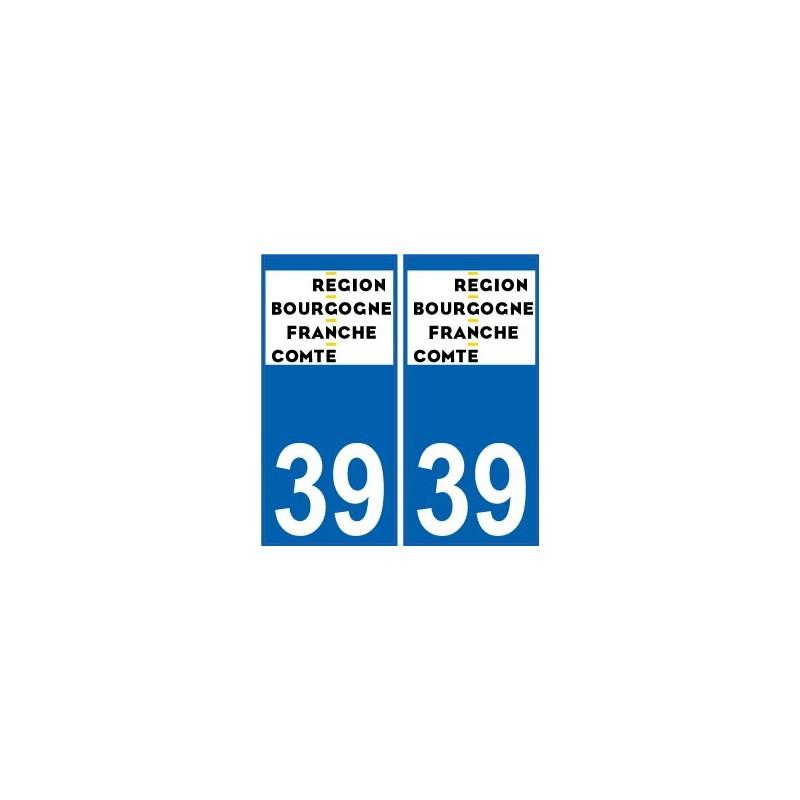 39 jura autocollant plaque immatriculation auto d partement sticker bourgogne franche comt. Black Bedroom Furniture Sets. Home Design Ideas