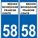 58 Nièvre sticker plaque immatriculation auto department sticker Burgundy-Franche-Comté new logo